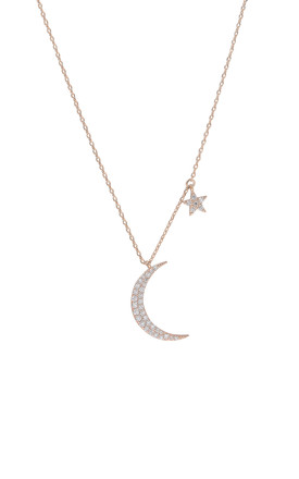 Moon And Star Charm Necklace Rose Gold by DOSE of ROSE Product photo