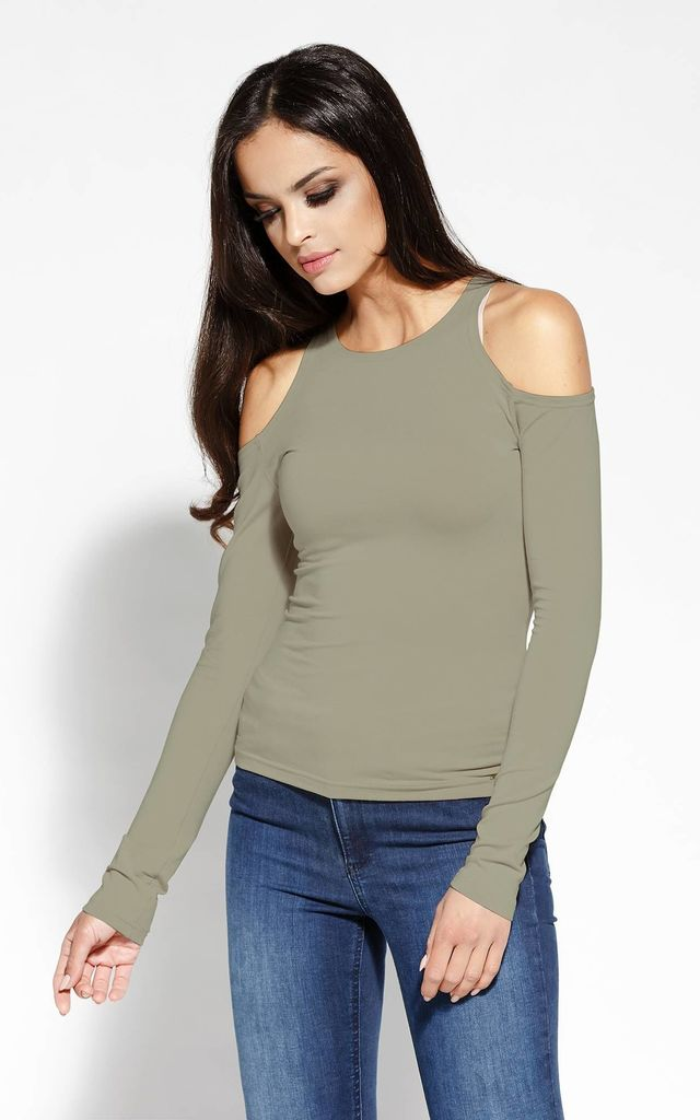 Olive Slim Long Sleeves Top by Dursi
