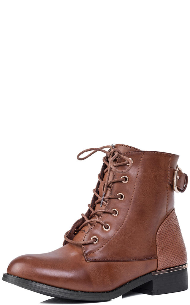 CHASITY Lace Up Flat Ankle Boots Shoes - Brown Leather Style by SpyLoveBuy