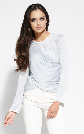 Grey Light Fabric Wrap Style Longsleeve Top by Dursi