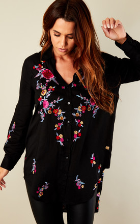 Black Embroidered High Low Shirt by Bella and Blue Product photo