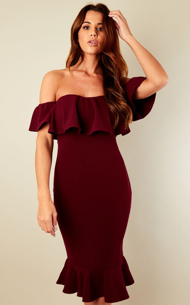 Wine Bardot Frill Hem Bodycon dress by Lilah Rose