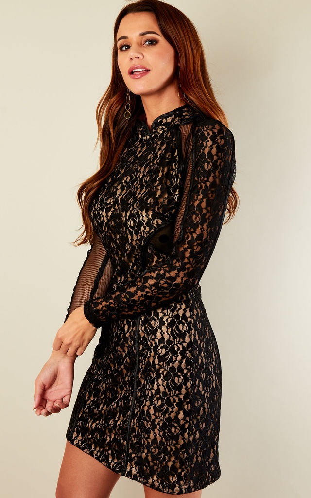 Black Dress with Mesh Sleeves by Glamorous