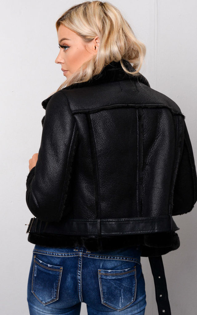 Faux Leather Shearling Cropped Aviator Biker Jacket Black by LILY LULU FASHION