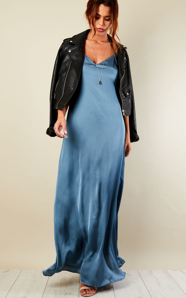 Blue Satin Strappy Dress by Glamorous