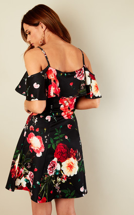 Black Cold Shoulder Red Floral Print Cami Skater Dress by Bella and Blue