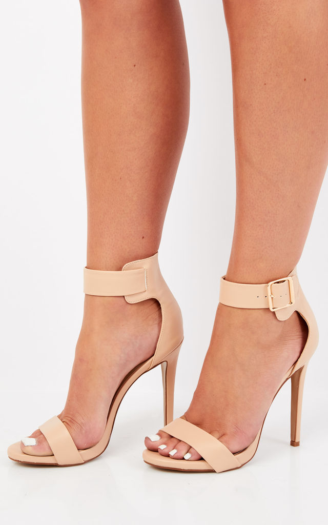 Nude Strappy Heels With Buckle by Truffle Collection