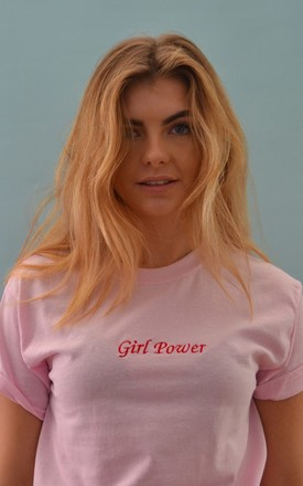 Girl power Embroidered pink t-shirt by Emma Warren