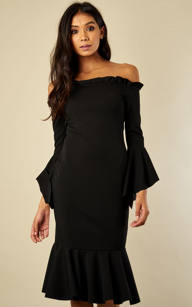 Black Frill Sleeve Bardot Midi Dress by Lilah Rose