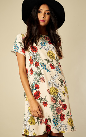 Cream Multi Floral T Shirt Dress by Glamorous Product photo