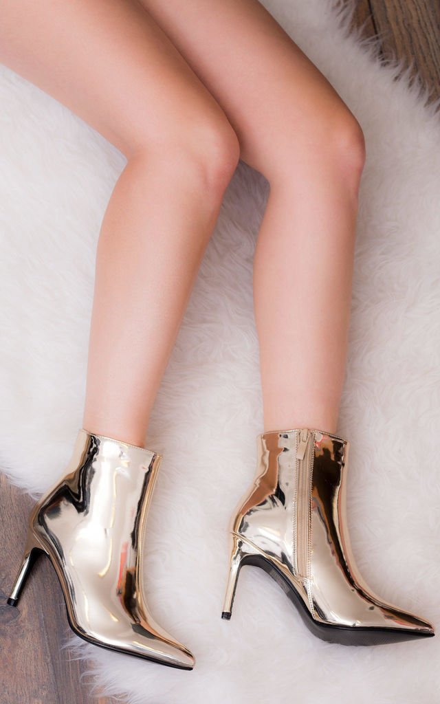 ALESSANDRA Pointed High Heel Stiletto Ankle Boots - Gold Metallic by SpyLoveBuy