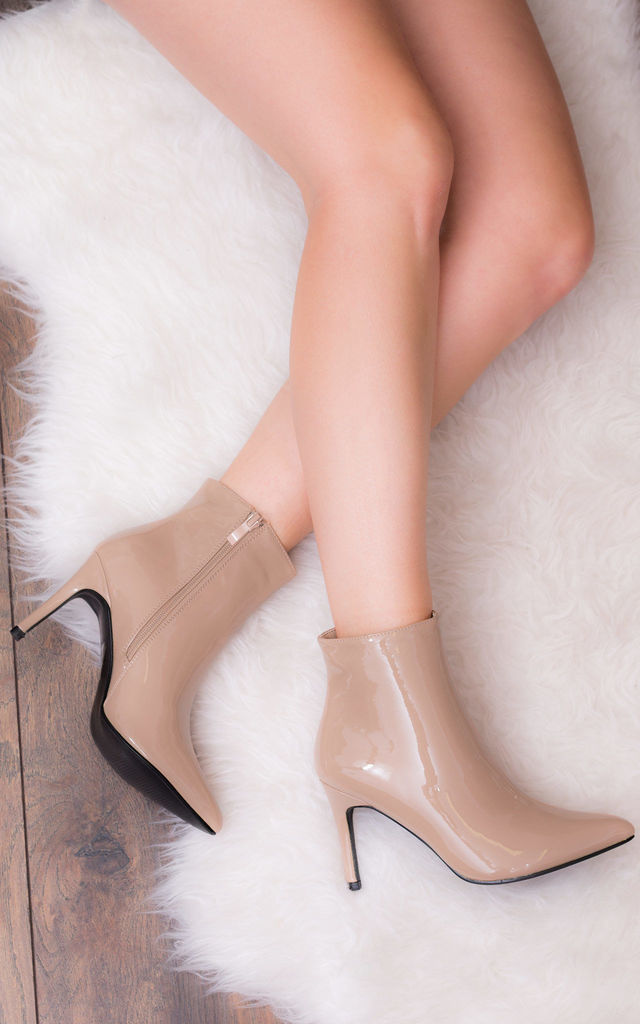 ALESSANDRA Pointed High Heel Stiletto Ankle Boots - Nude Metallic by SpyLoveBuy