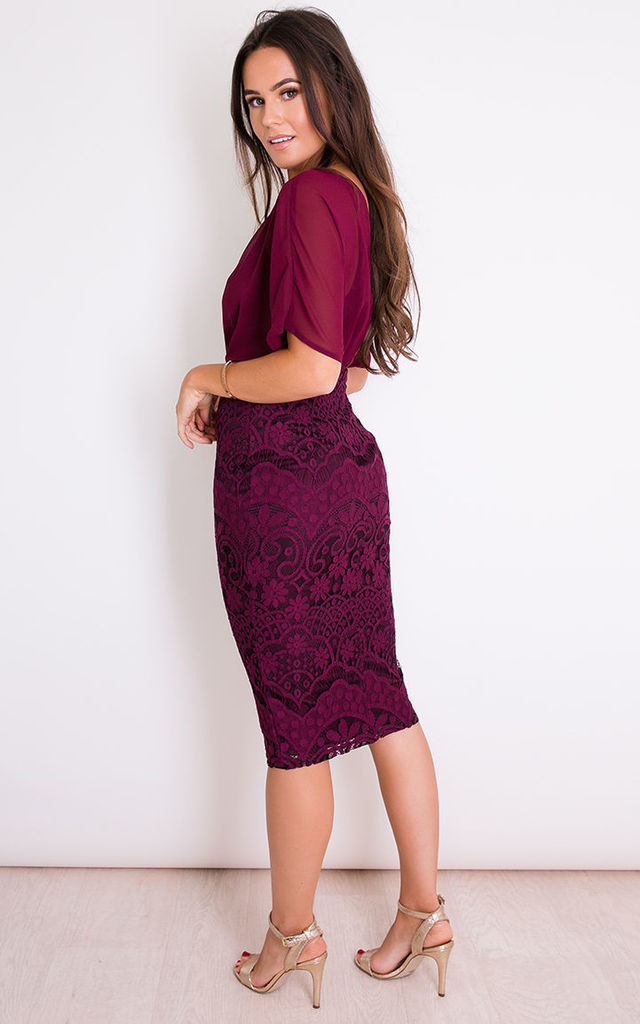 Georgia Batwing Lace Midi Dress Plum by Girl In Mind