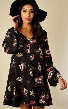 Black Wild Poppy Button Front Long Sleeve Dress by Glamorous Product photo