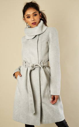 Grey Mid Length Belted Wool Coat by VILA Product photo