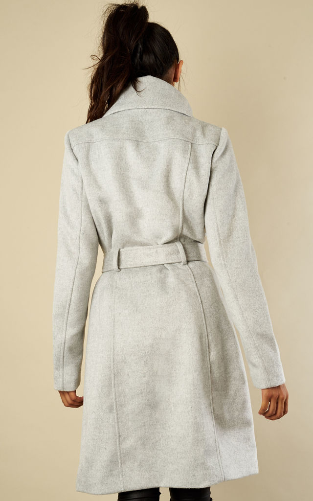 Grey Mid Length Belted Wool Coat by VILA