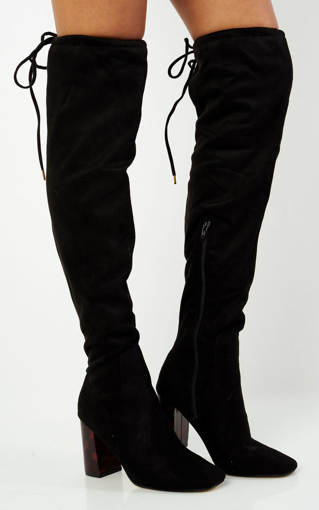 7e430daad5c Black Over The Knee Boots With Tortoise Shell Heel by Truffle Collection