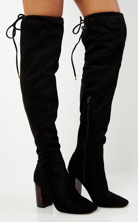 Black Over The Knee Boots With Tortoise Shell Heel by Truffle Collection Product photo