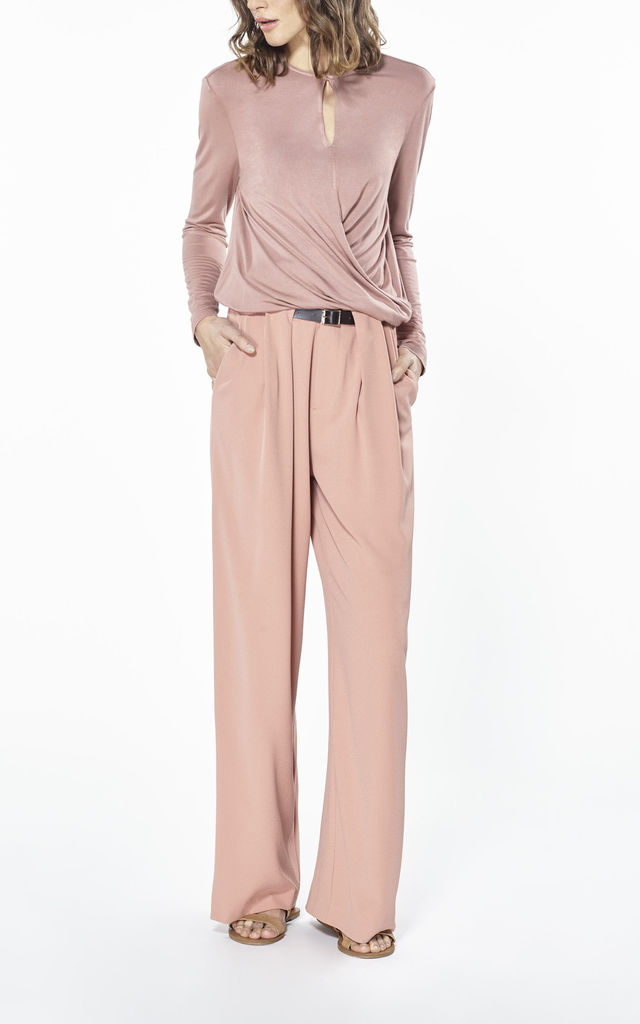 Palazzo trousers with belt loop details in pink by Paisie