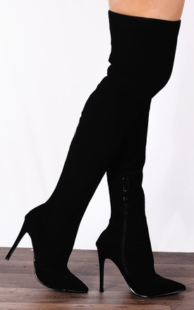 Black Nubuck Thigh High Over the Knee Stretch Pointed Stilettos Boots by Shoe Closet
