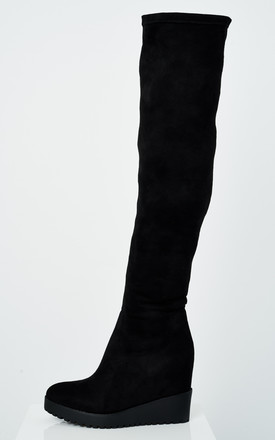 Jody Knee High Black Suede Wedge Heel Boots - SilkFred