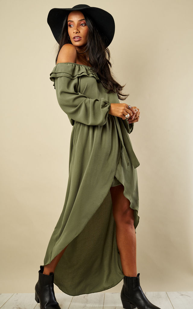 Khaki Dip Hem Off The Shoulder Dress by Lilah Rose