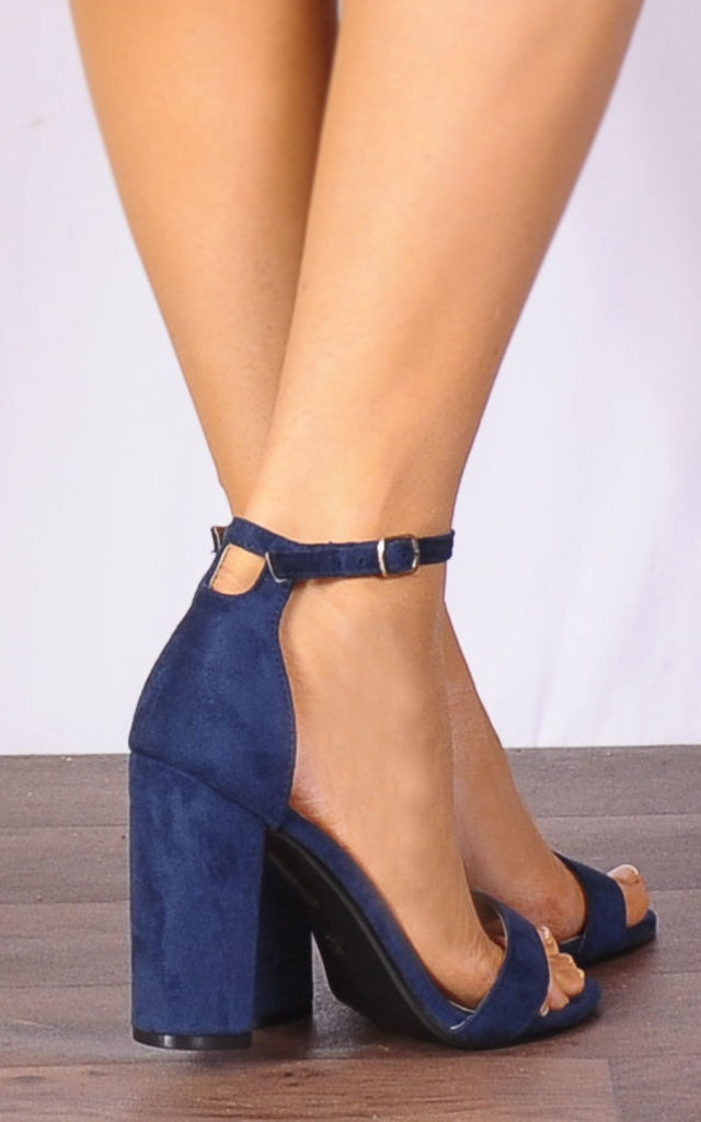 Navy Blue Faux Suede Ankle Strap Block Heel Strappy Sandals Peep Toes High Heels by Shoe Closet
