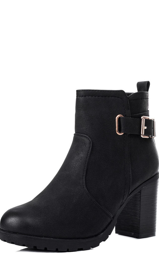 ELLIS Buckle Block Heel Ankle Boots Shoes - Black Leather Style by SpyLoveBuy