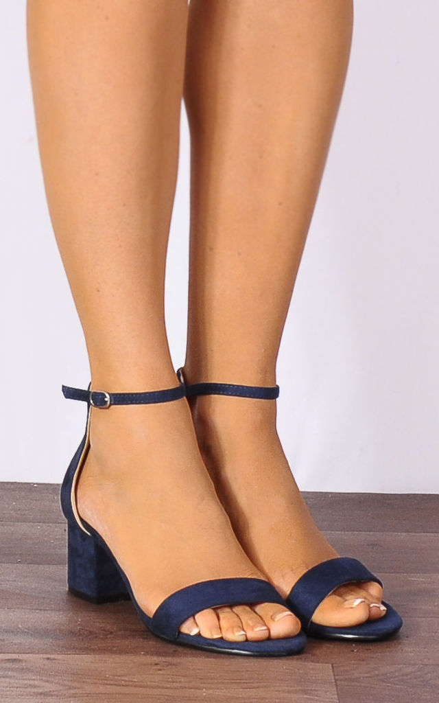 Navy Blue Faux Suede Barely There Low Heeled Strappy Sandals by Shoe Closet
