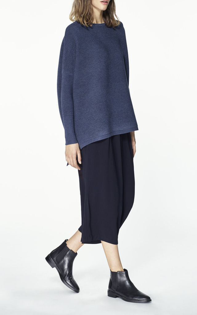 Ribbed jumper with side splits in denim blue by Paisie