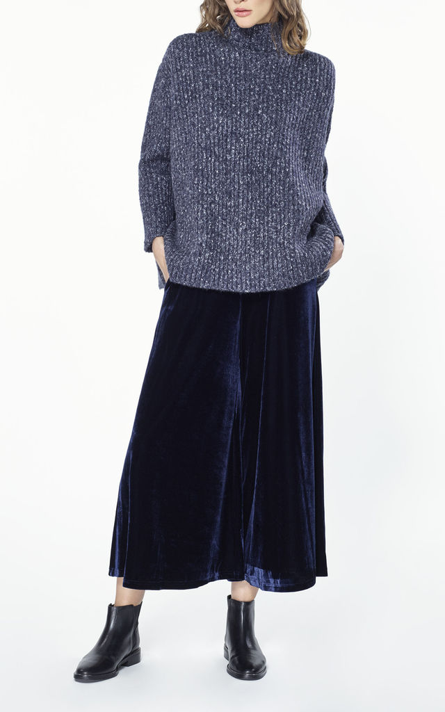 Oversized chunky funnel neck jumper in marl navy by Paisie