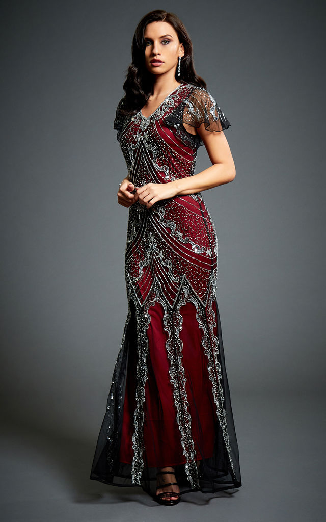 Sophia Vine Red Embellished 1920s Gatsby Evening Maxi Dress - SilkFred