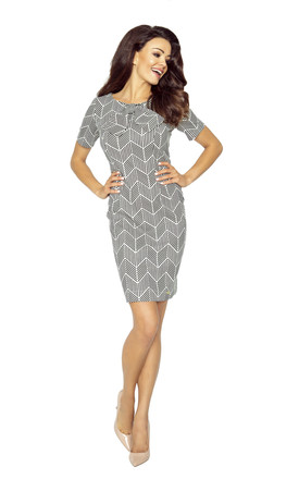 Printed Short Sleeves Fit Dress by Bergamo