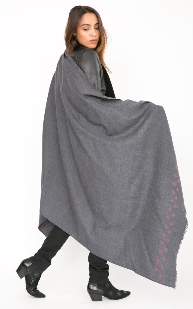 Handwoven Pashmina & Blanket Scarf with Crosses 100 X 200cm Grey by likemary