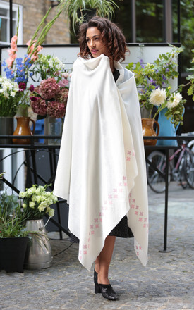Handwoven Pashmina & Blanket Scarf with Crosses 100 X 200cm Cream by likemary