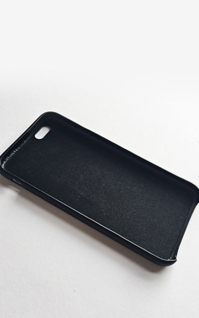 Black faux leather personalised embossed phone case by Rianna Phillips