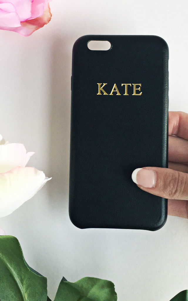 Black PU leather embossed phone case by Rianna Phillips