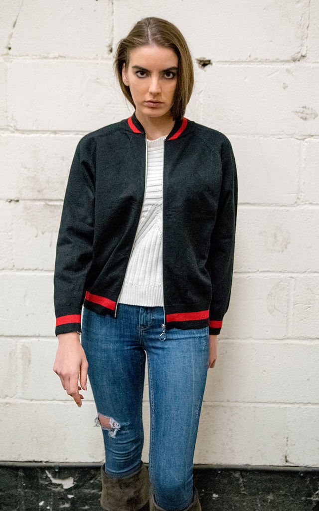 SERENITY KNITTED BOMBER JACKET WITH FLORAL EMBROIDERY ON THE BACK BLACK by Lucy Sparks