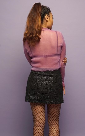 Black Silver Glitter Mini Skirt by Cute Mistake