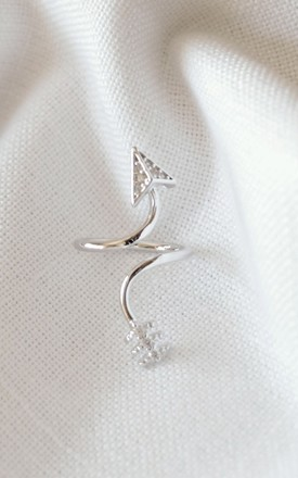 White Gold Arrow Nail Ring by DOSE of ROSE Product photo