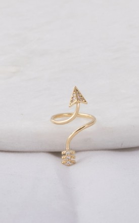 Gold Arrow Nail Ring by DOSE of ROSE