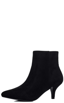 SPYMORE Kitten Heel Ankle Boots Shoes - Black Suede Style by SpyLoveBuy