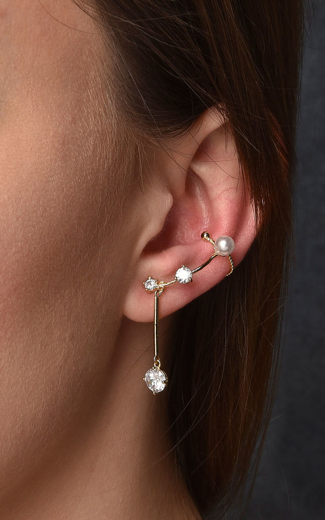 Cubic Line Stud And Ear Cuff Gold by DOSE of ROSE