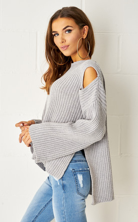 Valentiya Grey Dipped Hem Cold Shoulder Jumper by love frontrow