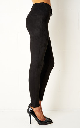 Carmelle Black Stretch High Waist Lace Up Leggings by Frontrow Limited