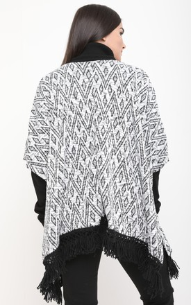 BLACK AZTEC PRINT PONCHO by Aftershock London
