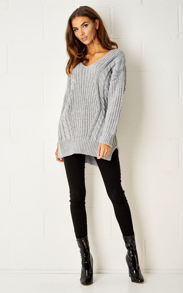 Lucinda Dipped Hem Cable Knit Jumper In Grey by Frontrow Limited