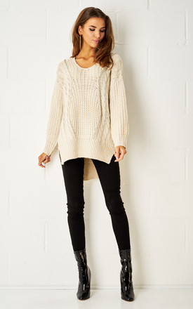 Lucinda Dipped Hem Cable Knit Jumper In Cream by Frontrow Limited
