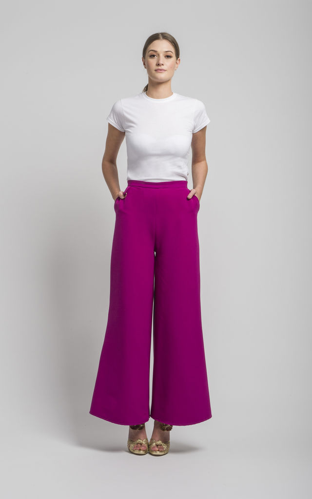 Sofia wide leg trouser in Magenta by CoCo  VeVe