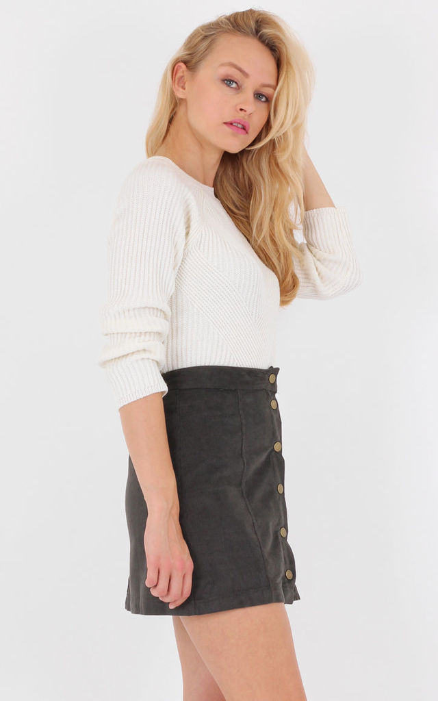 Khaki A-line Corduroy High Waist Skirt by MISSTRUTH
